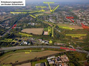 Aus der Vogelperspektive ist erkennbar, wo überall der LIPPEVERBAND im Dortmunder Nordosten unterirdischen Kanäle bau (gelbe Linien).