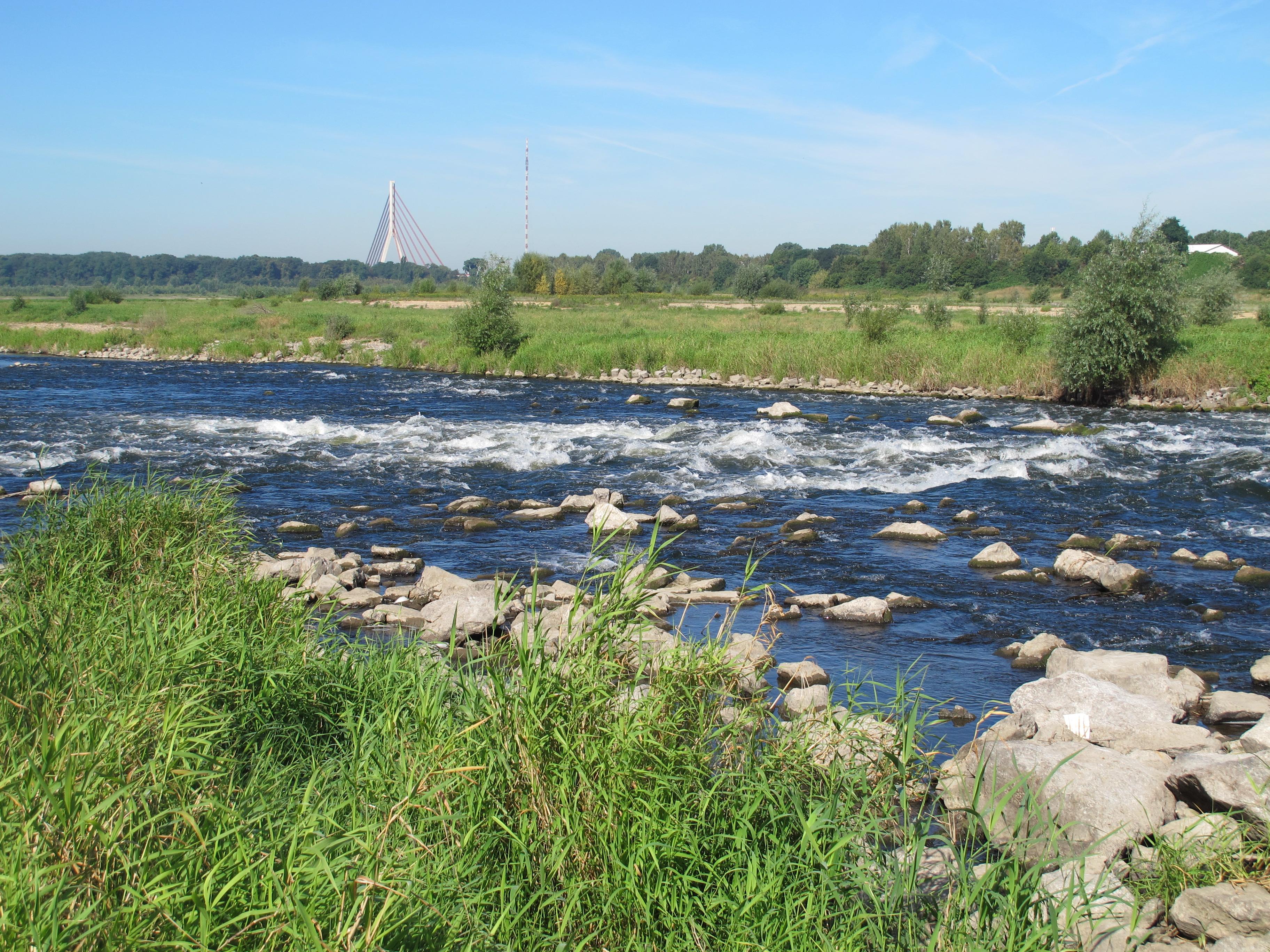 Direkt hinter der Bundesstraße 8 in Wesel fließt die Lippe über eine Stufe aus Wasserbausteinen. Die Umtragestelle links ist gut zu erkennen.
