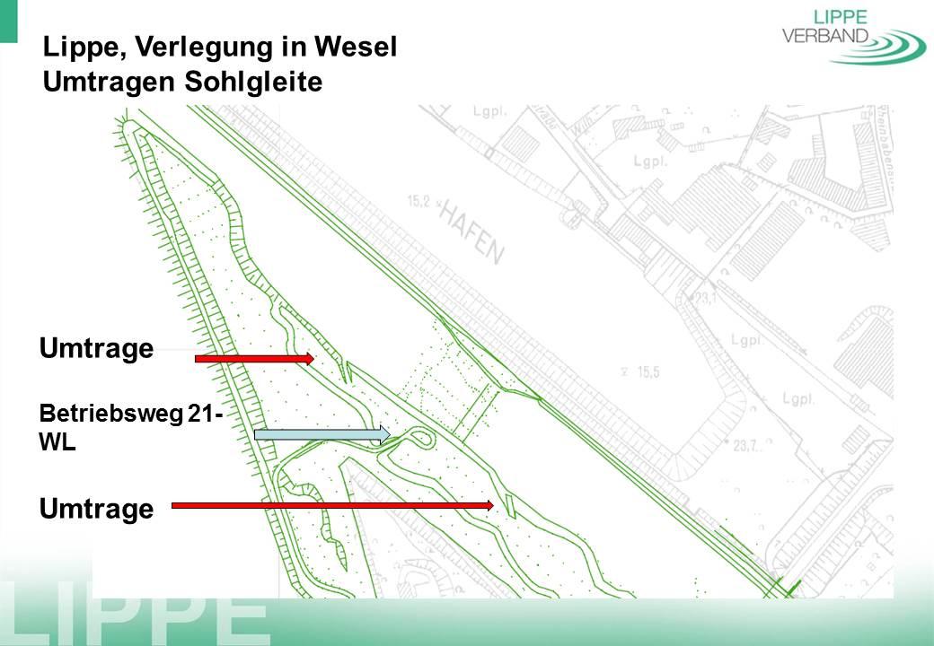 Kurz vor der Sohlgleite am Ende der Aue kann auf dem linken Ufer umgetragen werden (rote Linien).