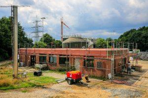 Das Betriebsgebäude der Kläranlage Schermbeck ist derzeit zugemauert. (c) alle Fotos Rupert Oberhäuser,