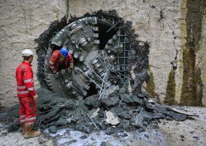 Die Einfahrt der ersten Maschine am Mittwoch. Foto: Rupert Oberhäuser/Emschergenossenschaft