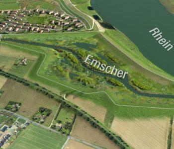 Eine Grafik der neuen Emscher-Auenlandschaft an der Mündung in den Rhein.