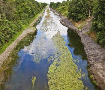 Versuchsstrecke Emscherumbau Dortmund Deusen; Bauarbeiten am rechtsseitigen Ufer; geschwungene Uferlinie