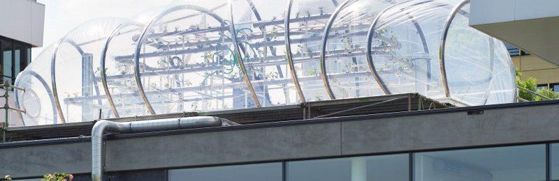 Die Urban Space Station als Kunstwerk der Emscherkunst 2016 auf dem Zwischendach des SWAN-Gebäudes