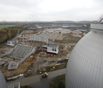 Der Umbau der Kläranlage Emschermündung, hier zu sehen: die Bauarbeiten für die neue Vorklärung. Alle Fotos: Rupert Oberhäuser