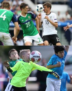 Die Leidenschaft ist die gleiche: Vollen Einsatz zeigen sowohl die Emscher-Junioren als auch Weltmeister Thomas Müller. Beide Fotos: firo