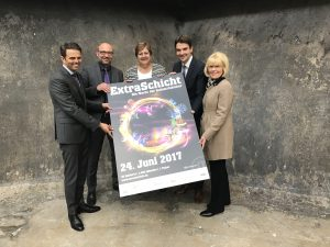 Unser Chef Dr. Uli Paetzel (2.v.r.) hat in dieser Woche unser Programm bei der Extraschicht-Pressekonferenz auf Zollverein vorgestellt. Foto: Ilias Abawi