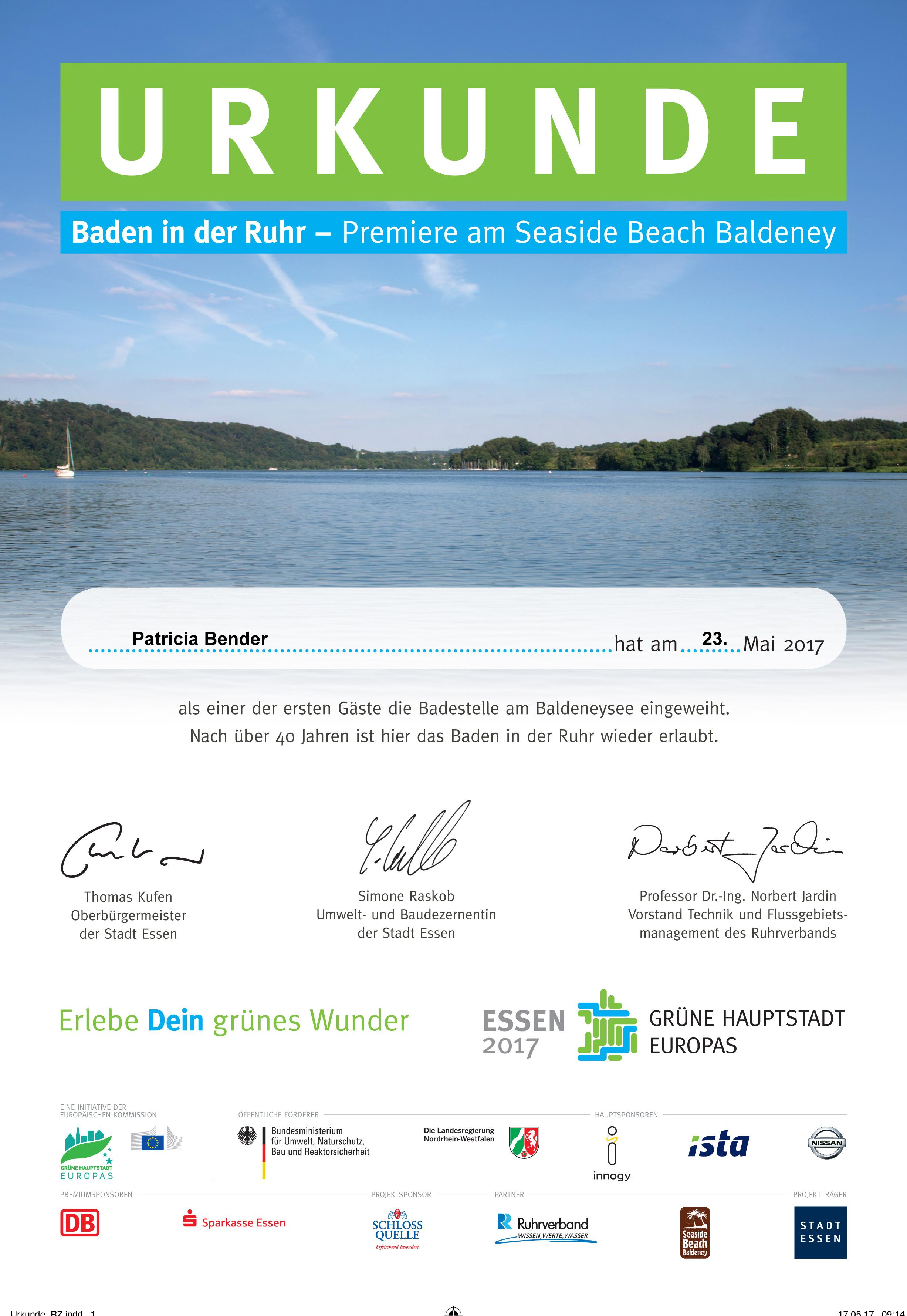 Anbade-Urkunde für die ersten 1.000 Schwimmer (Projektbüro Grüne Hauptstadt Europas - Essen 2017).