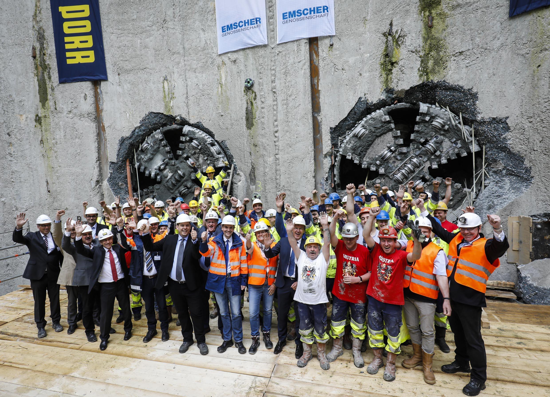 Meilenstein 2017: Beendigung der unterirdischen Vortriebsarbeiten für den Abwasserkanal Emscher (Foto: Rupert Oberhäuser)