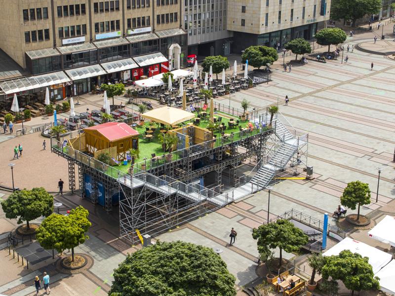 Emscher-Umbau in der Essener City