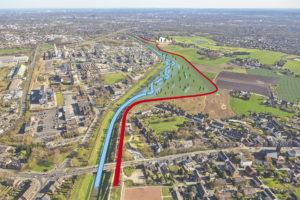 Unsere Planvorstellung der neuen Emscher-Aue im Holtener Bruch in Oberhausen. Der Deich wird nach Süden (rechts) verschwenkt, die Emscher erhält deutlich mehr Platz zum Mäandern. Grafik: Emschergenossenschaft