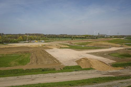 Hier sieht man das Gebiet nördlich der Lippe zwischen der Lippramsdorfer Straße und dem Oelder Weg. Hier entsteht der Endpunkt für die Bandförderanlage.