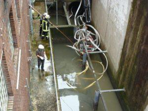 Spektakulärer Rufbereitschaftseinsatz: In Datteln-Beisenkamp wurde eine sogenannte Kanal-Inliner Maschine bei Hochwasser aus dem Kanal gespült und verstopfte den Einlauf des Pumpwerks. Foto: Stefan Lutz/EGLV