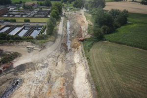 Links Kläranlage, rechts Dattelner Mühlenbach. Nach der Entflechtung folgt jetzt die ökologische Verbesserung. Foto: EGLV / Vermessung