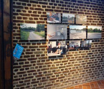 """Ausstellung """"Menschen im neuen Emschertal"""" in der Notkirche in Essen-Frohnhausen: Fotocollage zu Salah. Foto: Agnes Sawer/EGLV"""