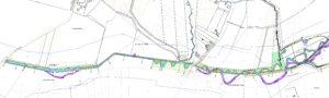 Die Planung des Kreises Unna für den Seseke-Oberlauf: Der neue Gewässerverlauf ist in Hellblau dargestellt. Die auffällige violette Linie bezeichnet lediglich die Abschnitte, welche auf Altlasten untersucht werden müssen. QueIle: Ingenieurbüro Sowa, Lippstadt