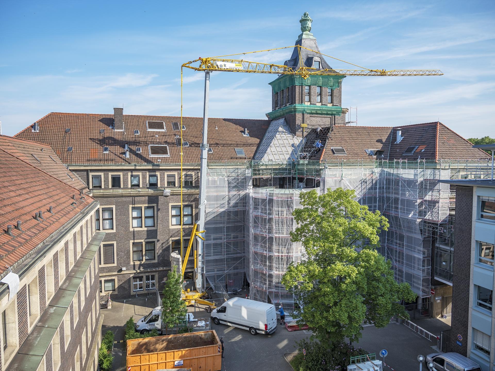 Innenhof des Emscher-Hauses während der Sanierung 2018. Foto: Klaus Baumers/EGLV