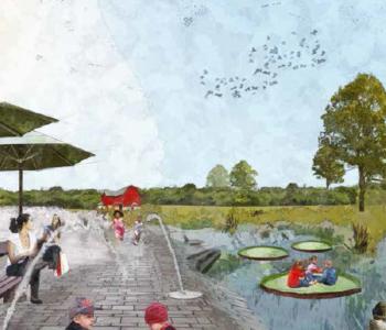 """Ein Zukunftsbild des Emscherland 2020-Leitprojekts """"Natur- und Wasser-Erlebnis-Park""""."""