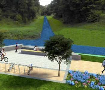 Projekt Emscher-Promenade: Mit einer gewässerbegleitenden Promenade soll die neu gewonnene Freiraumqualität an den Emscher-Ufern für Radfahrer und Fußgänger erlebbar gemacht werden.