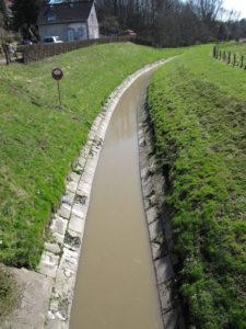 Unmittelbar an die Fläche (wäre rechts im Bild zu sehen) grenzt der Borbecker Mühlenbach. Er ist aktuell noch eine echte Köttelbecke, führt offen Schmutzwasser. Foto: Ilias Abawi