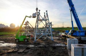 Aufbau der Stützen der Bandbrücke. Foto: EGLV / Rupert Oberhäuser